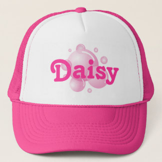 Girly hot pink trucker hat with custom text