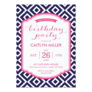 Girly Ikat Diamonds Birthday Party Invitation