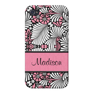 Girly in Pink and White Custom iPhone 4 Case