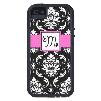 GIRLY INITIAL, PINK, BLACK VINTAGE DAMASK PATTERN TOUGH XTREME iPhone 5 CASE