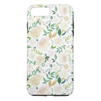 Girly Ivory Gold Floral Cute Watercolor Pattern iPhone 8 Plus/7 Plus Case
