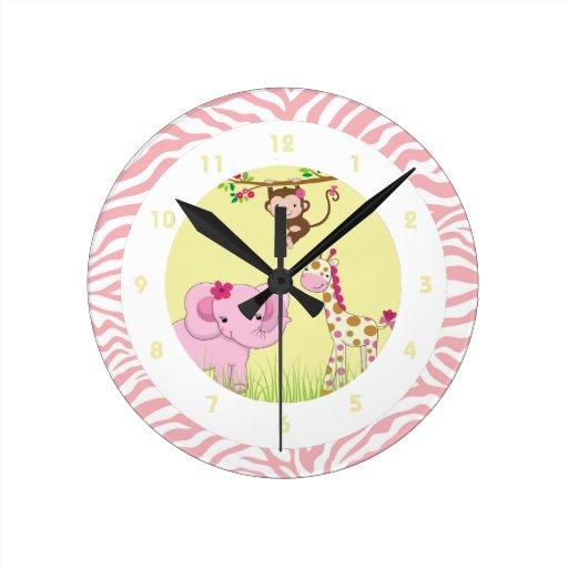 Girly Jungle Themed Kid 39 S Bedroom Wall Clock Zazzle