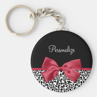 Girly Leopard Print Bright Red Ribbon With Name Key Ring