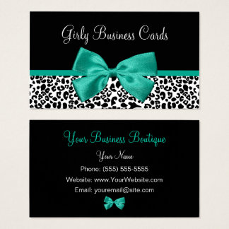 Girly Leopard Print Emerald Green Ribbon Business Card