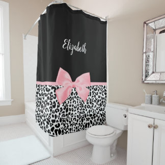 Girly Leopard Print Pattern With Pink Bow and Name Shower Curtain