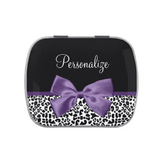 Girly Leopard Print Pretty Purple Ribbon With Name Candy Tins