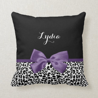 Girly Leopard Print Pretty Purple Ribbon With Name Cushion