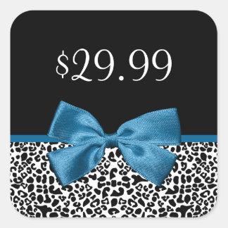 Girly Leopard Print Price Tags Pretty Blue Ribbon Square Sticker