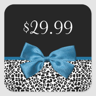 Girly Leopard Print Price Tags Pretty Blue Ribbon Square Stickers