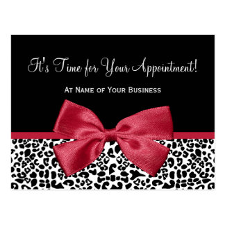Girly Leopard Salon Appointment Reminder Red Bow Postcard
