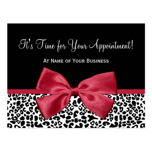 Girly Leopard Salon Appointment Reminder Red Bow Postcards