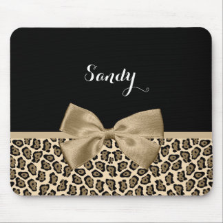 Girly Light Brown Jaguar Cute Brown Bow With Name Mouse Pad