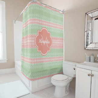 Girly Light Green Knit Coral Pink Stripes and Name Shower Curtain