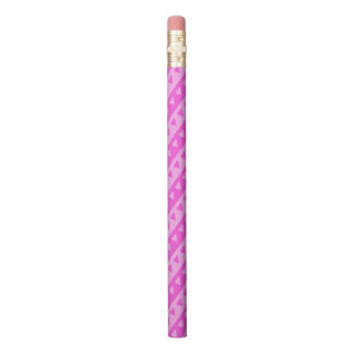 Girly Light Pink & Dark Pink Heart Stripes Pattern Pencil