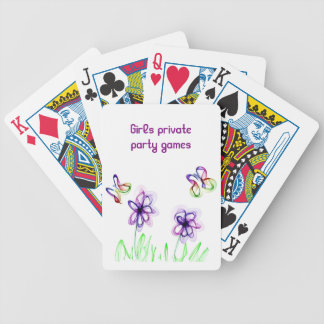 Girly-like flame flower and butterfly drawing bicycle playing cards