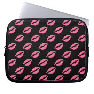 Girly Lips Hot Pink And Black  Kiss Pattern Computer Sleeves
