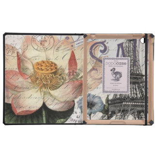 girly lotus flower vintage paris eiffel tower cover for iPad