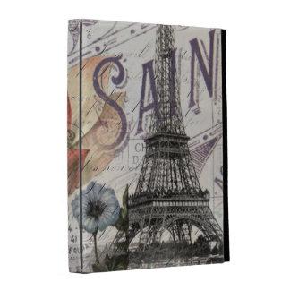 girly lotus flower vintage paris eiffel tower iPad folio case