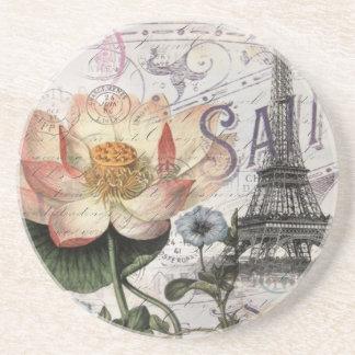 girly lotus flower vintage paris eiffel tower beverage coasters