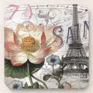 girly lotus flower vintage paris eiffel tower coasters