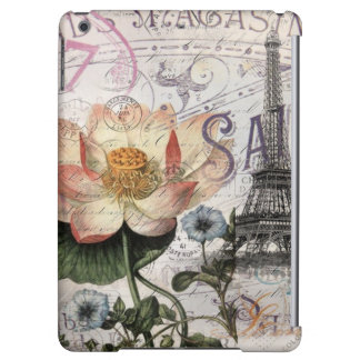 girly lotus flower vintage paris eiffel tower iPad air cases