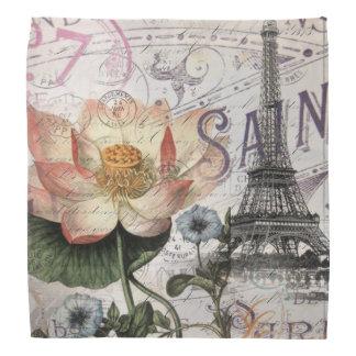 girly lotus flower vintage paris eiffel tower kerchief