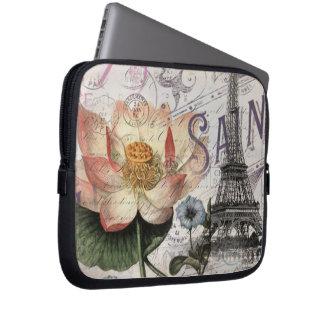 girly lotus flower vintage paris eiffel tower laptop sleeves
