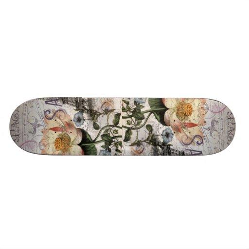 girly lotus flower vintage paris eiffel tower custom skateboard