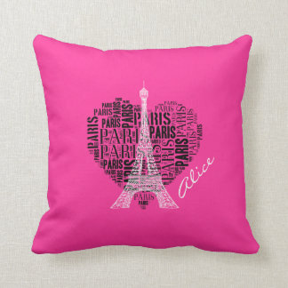 Girly Love Paris | Pink Background Cushion