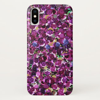 Girly Magenta Pink Faux Sequins iPhone X Case
