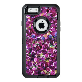 Girly Magenta Pink Faux Sequins OtterBox Defender iPhone Case
