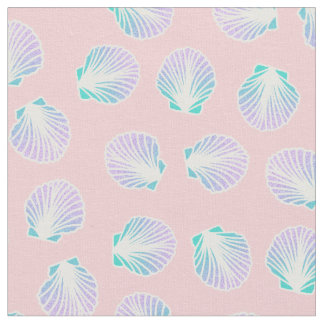 Girly mermaid hand drawn sea shell pink fabric