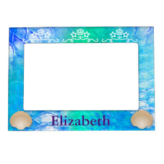 Girly Mermaid Scales and Seashells First Name Magnetic Frame