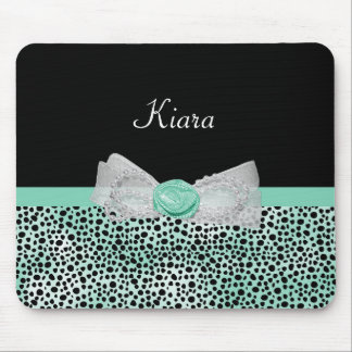 Girly Mint Cheetah Print Cute Rose Bow and Name Mouse Pad