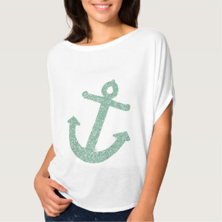 Girly Mint Glitter Anchor T-Shirt