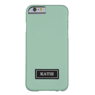 Girly Mint Green Custom Name Plate, Personalized Barely There iPhone 6 Case