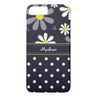 Girly Mod Daisies and Polka Dots With Name iPhone 8 Plus/7 Plus Case