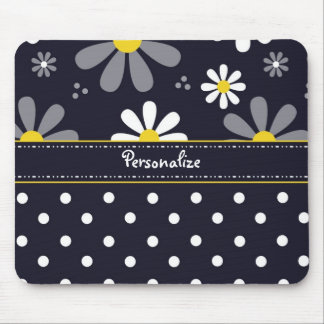 Girly Mod Daisies and Polka Dots With Name Mouse Pad