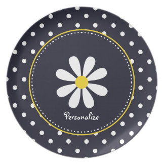 Girly Mod Daisies and Polka Dots With Name Plate