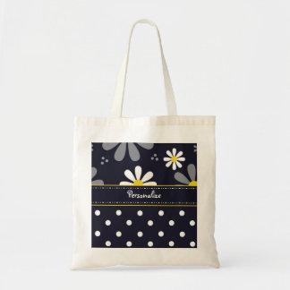 Girly Mod Daisies and Polka Dots With Name Tote Bag