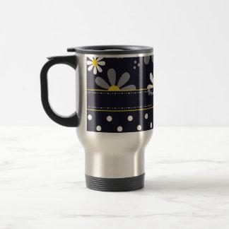 Girly Mod Daisies and Polka Dots With Name Travel Mug