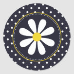 Girly Mod Daisy and Polka Dots Round Sticker