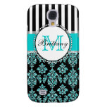 Girly Modern Aqua Teal Glitter Damask Personalised Samsung Galaxy S4 Covers