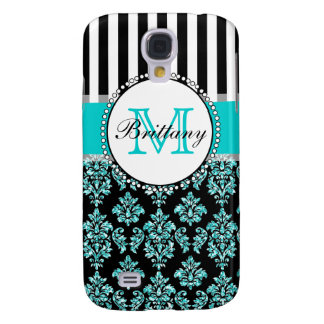 Girly Modern Aqua Teal Glitter Damask Personalized Samsung Galaxy S4 Covers