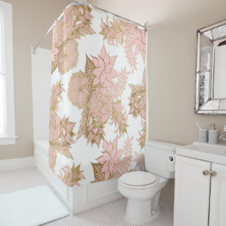 Girly Modern Blush Pink White Gold Floral Shower Curtain