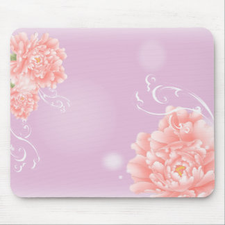 girly modern chic purple pink peony flower mouse pad