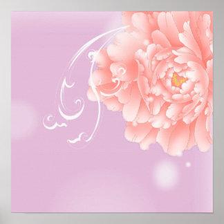 girly modern chic purple pink peony flower poster
