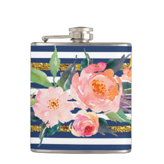 Girly Modern Chic Watercolor Flowers -Stripes Flasks