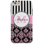 Girly Modern Pink Glitter Damask Personalised Tough iPhone 6 Plus Case