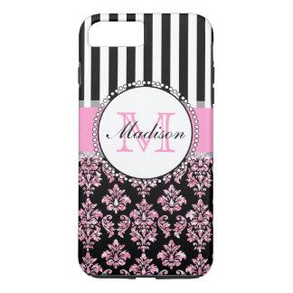 Girly Modern Pink Glitter Damask Personalized iPhone 8 Plus/7 Plus Case